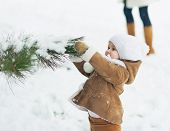 image of stroll  - Baby girl playing with snow on branch - JPG