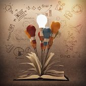 image of lightbulb  - drawing idea pencil and light bulb concept outside the book as creative vintage style concept - JPG