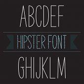 picture of glyphs  - Modern minimal hipster font alphabet - JPG