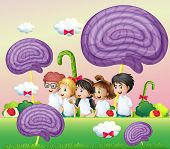 Illustration of a group of kids at the candyland