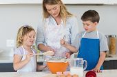 image of flour sifter  - Children and mother baking cookies at counter top in kitchen - JPG