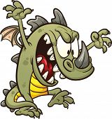 stock photo of stomp  - Cute cartoon dragon wreaking havoc - JPG