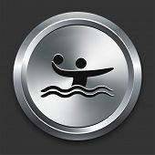 Water Polo Icon on Metallic Button Collection