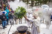 NAGANO, JAPAN - FEB 4, 2013: Shinto Ascetics perform ancient purifying rites. Known as Yamabushi, th