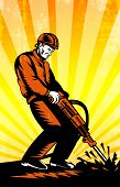stock photo of hammer drill  - Poster illustration of a construction worker with jack hammer pneumatic drill drilling excavation work done in retro woodcut style - JPG