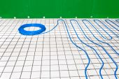 stock photo of floor heating  - Under floor heating system in a bathroom - JPG