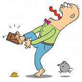 stock photo of mouse trap  - Illustration a man screaming because of a mouse trap - JPG