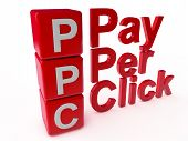 image of payment methods  - PPC Pay Per Click over white Background - JPG