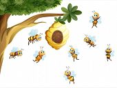 image of beehive  - Illustration of a tree with a beehive surrounded by bees on a white background - JPG