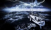 image of marina  - Stormy marina with rough sea - JPG
