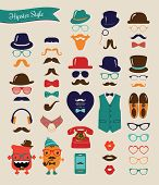 picture of moustache  - Hipster Colorful Retro Vintage Vector Icon Set - JPG