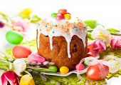 picture of easter candy  - Easter cake and  eggs on festive Easter table - JPG