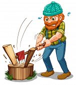 Illustration of a tired lumberjack on a white background