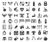 stock photo of exercise  - Health and Fitness icons on white background - JPG
