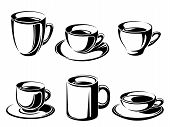 image of black tea  - Vector set of black silhouettes of tea and coffee cups on a white background - JPG