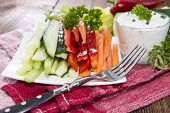 image of crudites  - Crudites stripes (fresh diet food) on a plate