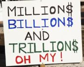 stock photo of billion  - a sign protesting government policies at a Tea Party rally in Arizona - JPG