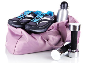 picture of heavy bag  - Sports bag with sports equipment isolated on white - JPG
