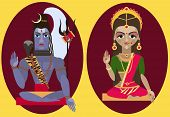 foto of shiva  - vector illustration lord Shiva and mata Parvati - JPG