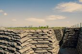 foto of sandbag  - Trenches of world war one sandbags in Belgium - JPG