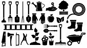 picture of tool  - isolated set twenty seven black gardening  tools - JPG