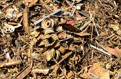 picture of junk-yard  - Large pile of old steel at a metal recycling scrap yard - JPG