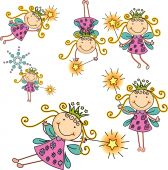 stock photo of pixie  - a beautiful vector set of fairies with different style - JPG
