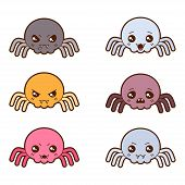 image of kawaii  - Set of kawaii spiders with different facial expressions - JPG