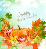pic of ear  - Vector background for Thanksgiving Day with apples - JPG