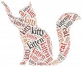 pic of kitty  - Word cloud illustration funny cat related - JPG
