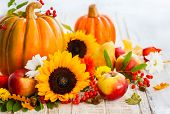 pic of wooden basket  - Autumn still life with seasonal fruits - JPG