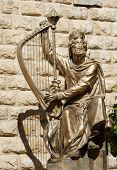 stock photo of mutilated  - View of Statue of King David in Jerusalem - JPG