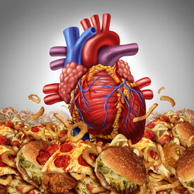 image of cardiovascular  - Heart disease risk symbol and health care and nutrition concept as a human cardiovascular organ drowning in an ocean of greasy high salt unhealthy fast food as a symbol dangerouse artery clogging cholesterol crisis - JPG