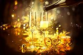 stock photo of champagne glasses  - New Year celebration with champagne - JPG