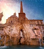 stock photo of obelisk  - Fountain of the Four Rivers  - JPG