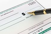 picture of blank check  - Blank Banking Check and Fountain Pen on a white background - JPG