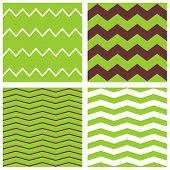stock photo of chevron  - Tile chevron vector pattern set with brown - JPG