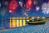 foto of firework display  - New Years firework display at Baltic Sea - JPG