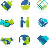 picture of partnership  - collection of business handshake and partnership icons  - JPG