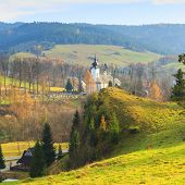 pic of pieniny  - View of the Church in Jaworki Pieniny Poland - JPG
