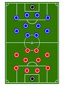 stock photo of offside  - Football teams formation with red and blue circles - JPG