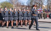 Постер, плакат: Women cadets of police academy march on parade