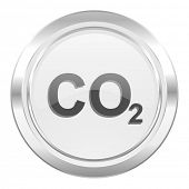 stock photo of carbon-dioxide  - carbon dioxide metallic icon co2 sign  - JPG