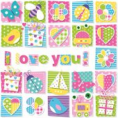 pic of robotics  - illustration of birds bees ladybugs butterflies presents robots boats hearts and flowers collection pattern with I love you text on colorful rectangular background - JPG