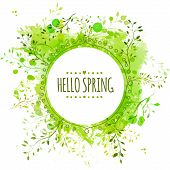 picture of environmentally friendly  - Circle frame with text hello spring - JPG