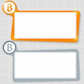 foto of bit coin  - set of two text boxes for text and bit coin symbol - JPG