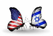 image of israeli flag  - Two butterflies with flags on wings as symbol of relations USA and Israel - JPG