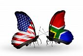pic of south american flag  - Two butterflies with flags on wings as symbol of relations USA and South Africa - JPG