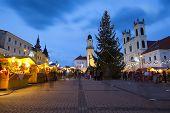 foto of banska  - Christmas market on the main Square in Banska Bystrica - JPG
