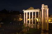 picture of saturn  - Temple of Saturn and Vespasian at night Rome Italy - JPG